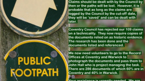 Appeal – Help Save Coventry's Ancient Foot Paths